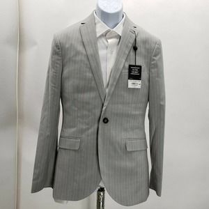 Topman Grey Striped ULTRA SKINNY Blazer One button
